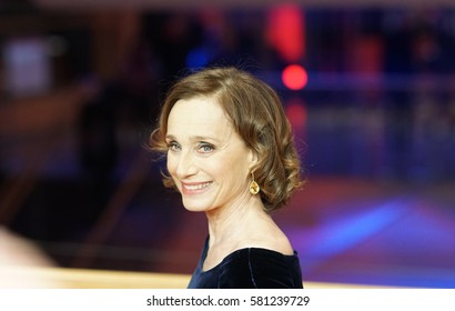 Berlin, Germany - February 13, 2017: Actress Kristin Scott Thomas poses for the photographers during a photo call for the film 'The Party' at the 67th Berlinale Film Festival in Berlin