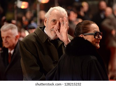 """BERLIN - GERMANY - FEBRUARY 13: Christopher Lee at the 63rd Annual Berlinale International Film Festival """"Night Train To Lisbon"""" premiere at Berlinale Palast on February 13, 2013 in Berlin, Germany."""