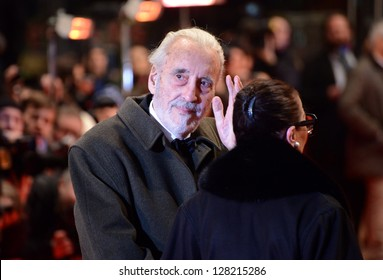 "BERLIN - GERMANY - FEBRUARY 13: Christopher Lee at the 63rd Annual Berlinale International Film Festival ""Night Train To Lisbon"" premiere at Berlinale Palast on February 13, 2013 in Berlin, Germany."