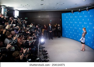 BERLIN, GERMANY - FEBRUARY 13: Lily James, 'Cinderella' photocall.65th Berlinale International Film Festival at Grand Hyatt Hotel on February 13, 2015 in Berlin, Germany