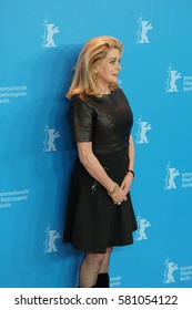Berlin, Germany - February 14, 2017: actress Catherine Deneuve attending 'The Midwife' premiere and photo call during the 67th Berlinale International Film Festival of Berlin