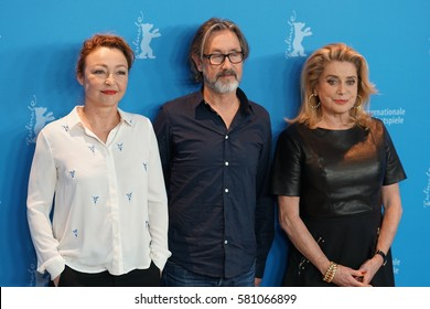 Berlin, Germany - February 14, 2017: actresses Catherine Deneuve and Catherine Frost and film director Martin Provost attending 'The Midwife' premiere and photo call during the 67th Berlinale Festival