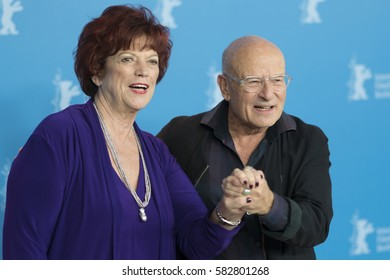Berlin, Germany - February 15, 2017: Producer Regina Ziegler and producer, director and screenwriter Volker Schloendorff attend the 'Return to Montauk' photo call during 67th Berlinale Film Festival