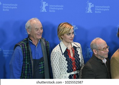 Berlin, Germany - February 15, 2018: Actors Bill Murray, Greta Gerwig, Bob Balaban pose at the 'Isle of Dogs' photo call during the 68th Berlinale International Film Festival 2018