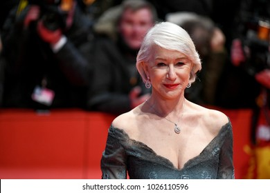 Berlin, Germany - February 15, 2018: English actress Helen Mirren on the red carpet at the 68th Berlinale International Film Festival premiere of the movie Isle Of Dogs