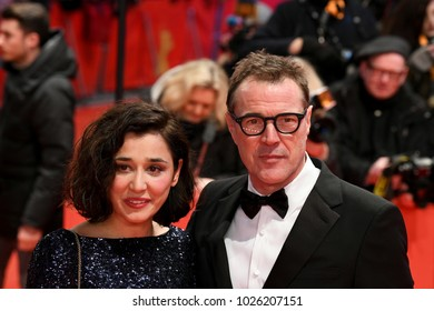 Berlin, Germany - February 15, 2018: Hungarian actress Dorka Gryllus and German actor Sebastian Koch attend the Opening Ceremony and the 'Isle of Dogs' premiere during the 68th Berlinale Film Festival
