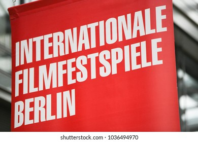 Berlin, Germany - February 15, 2018: Red banner of the 68th Berlinale - Berlin International Film Festival (German: Internationale Filmfestspiele Berlin). The bear is the symbol of the Festival