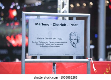Berlin, Germany - February 15, 2018: Marlene-Dietrich-Platz sign. Marlene-Dietrich-Platz 1, Berlin is the address of the Theater at Potsdamer Platz, dressed up as the Berlinale Palast during Festival
