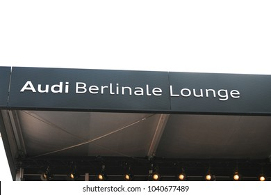 Berlin, Germany - February 15, 2018: Exterior of the Audi Berlinale Lounge, located at the Marlene Dietrich Platz. Audi is one of the main partners of the Berlin International Film Festival since 2014