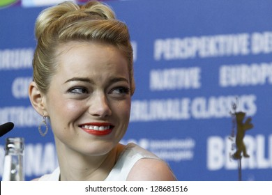 BERLIN, GERMANY - FEBRUARY 15: Emma Stone attends 'The Croods' press conference at the 63rd Berlinale International Film Festival on February 15, 2013 in Berlin, Germany.