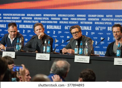Berlin, Germany - February 16, 2016  - Colin Firth, Jude Law, Michael Grandage, actors Laura Linney and Guy Pearce attend the 'Genius' press conference on 66 Berlinale International Film Festival