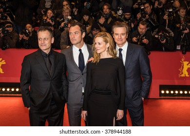 Berlin, Germany - February 16, 2016  - Actors Colin Firth, Laura Linney, Jude Law and director Michael Grandage attend the 'Genius' premiere during the 66th Berlinale International Film Festival