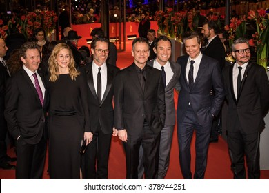 Berlin, Germany - February 16, 2016  - Actors Guy Pearce, Colin Firth, Laura Linney, Jude Law and director Michael Grandage attend the 'Genius' premiere on 66th Berlinale International Film Festival