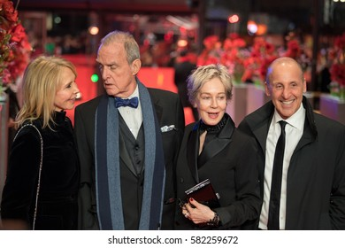 Berlin, Germany - February 16, 2017: costume designer Milena Canonero receiving Honorary Golden Bear posing with Trudie Styler, Marshall Bell