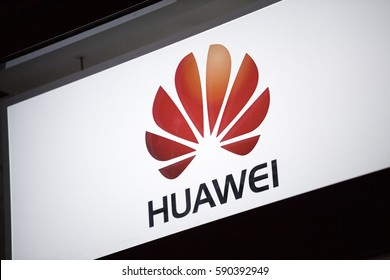 Berlin, Germany - February 16, 2017: Huawei symbol. Huawei Technologies Co. Ltd. is a Chinese multinational networking and telecommunications equipment and services company