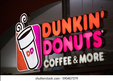 Berlin, Germany - February 16, 2017: Dunkin' Donuts shop. Founded in 1950, Dunkin' Donuts is an American global donut company and coffeehouse chain with more than 10,000 locations in 32 countries
