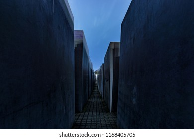 Berlin / Germany - February 16th 2017: The Memorial to the Murdered Jews of Europe (Denkmal für die ermordeten Juden Europas), memorial in Berlin to the Jewish victims of the Holocaust.