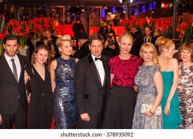Berlin, Germany - February 17, 2016  - Trine Dyrholm, Helene Reingaard Neumann, Thomas Vinterberg, actors Julie Agnete Vang, Anne Gry Henningsen attend the 'The Commune'  premiere on 66th Berlinale