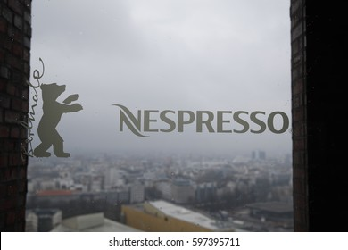 Berlin, Germany - February 17, 2017: Nespresso and Berlinale logo on glass door. Nespresso is co-partner of Berlinale Talents, annual summit and networking platform of Berlin International Festival