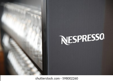 Berlin, Germany - February 17, 2017: Nespresso shop. Nespresso machines brew espresso and coffee from coffee capsules, or pods in bar machines, pre-apportioned single-use container of coffee beans