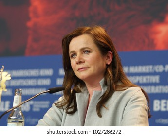 Berlin, Germany - February 17, 2018: English actress Emily Watson attend the 'The Happy Prince' press conference during the 68th Berlinale Festival 2018