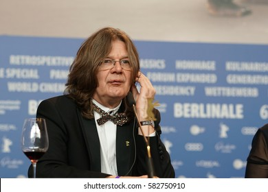 Berlin, Germany - February 18, 2017: Erno Mesterhazy, producer of film 'On Body and Soul', at a press conference after receiving the Golden Bear for Best Film at 67th Berlinale film festival in Berlin