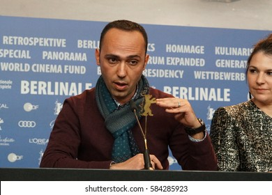 Berlin, Germany - February 18, 2017:  assistant director Wadee Hanani, winner of Glashuette Original Documentary Award, attends press conference the during 67th Berlinale International Film Festival