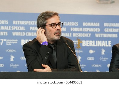 Berlin, Germany - February 18, 2017: Arnaud Dommerc, producer of the movie Felicite, which won the Silver Bear Grand Jury Prize, attends the award winners press conference during the 67th Berlinale