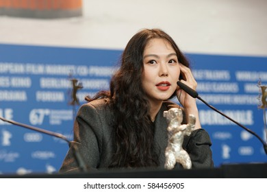 Berlin, Germany - February 18, 2017: Actress Kim Min-hee, winner of the Silver Bear award for best actress award, attends the award winners press conference during the 67th Berlinale Film Festival
