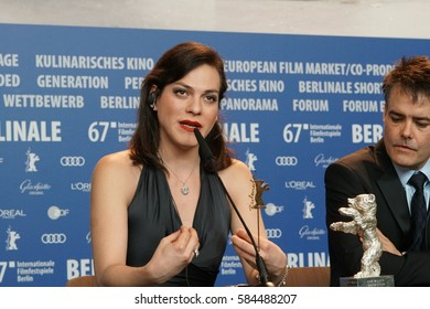 Berlin, Germany - February 18, 2017: Actress Daniela Vega, Silver Bear for best screenplay, attends the award winners press conference during the 67th Berlinale International Film Festival Berlin
