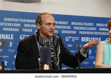 Berlin, Germany - February 18, 2017: Director Raed Andoni, winner of Glashuette Original Documentary Award, attends the award winners press conference during the 67th Berlinale International Festival
