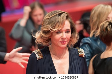 Berlin, Germany - February 18, 2018: Italian actress Valeria Golino poses on red carpet before the 'Daughter of Mine' (Figlia Mia) premiere during the 68th Berlinale International Film Festival 2018
