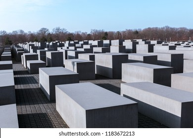 BERLIN, GERMANY - FEBRUARY 18, 2018: Memorial to the Murdered Jews of Europe In Berlin, Germany. Monument to victims of concentration camps.