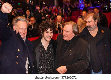 Berlin, Germany - February 19, 2016  - Actor Gerard Depardieu, Directors Gustave Kervern, Dieter Kosslick, Benoit Delepine and actor Vincent Lacoste attend the 'Saint Amour' premiere on 66th Berlinale