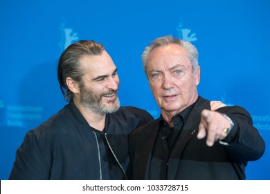 Berlin, Germany - February 20, 2018: US actor Joaquin Phoenix and German actor Udo Kier poses at the 'Don't Worry, He Won't Get Far on Foot' photo call during the 68th Berlinale Film Festival 2018
