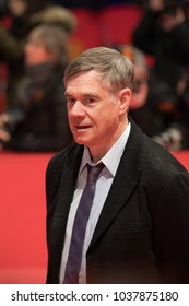 Berlin, Germany - February 20, 2018: US director Gus Van Sant poses on red carpet before the 'Don't Worry, He Won't Get Far on Foot' premiere during the 68th Berlinale International Film Festival 2018