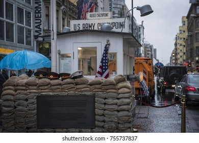 BERLIN, GERMANY - FEBRUARY 2016: Check point Charlie, in downtown Berlin The former east and west border crossing, during the cold war.