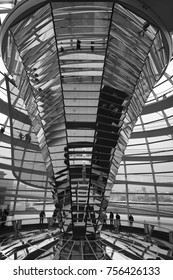 BERLIN, GERMANY - FEBRUARY , 2016: The Interior of the Reichstag glass dome, constructed on top of the rebuilt Reichstag building