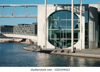 Berlin, Germany - february 2019: People at Marie Elisabeth Lueders Haus / government district in Berlin city on a sunny day