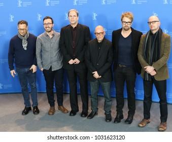 Berlin, Germany - February 21, 2018: Ken Meyer, Joe Malloch, Jim Greer, Jonathan Bernstein, Joshua Leonard and Steven Soderbergh pose at the 'Unsane' photo call during the 68th Berlinale Festival 2018