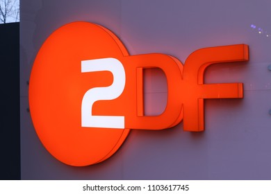 Berlin, Germany - February 22, 2018: ZDF signboard. Zweites Deutsches Fernsehen (English: Second German Television), usually shortened to ZDF, is a German public-service television broadcaster