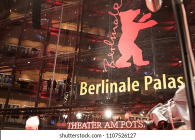 Berlin, Germany - February 22, 2018: Facade of the Berlinale Palast in Berlin or the Theater am Potsdamer Platz, the main venue of the Berlin International Film Festival every February