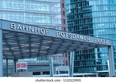 Berlin, Germany - February 22, 2018: Potsdamer Platz S-Bahn station sign. The S-Bahn is rapid transit railway system covering 15 lines on a 330 kilometre long regional network with 170 train stations