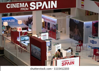 Berlin, Germany - February 22, 2018: View of the Cinema from Spain stand at the Berlinale's EFM European Film Market taking place on the sidelines of the city's film festival