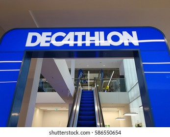 Berlin, Germany - February 23, 2017: Decathlon sports store. Founded by Michel Leclercq, Decathlon is one of the world's largest sporting goods retailers. It started with a store in France in 1976