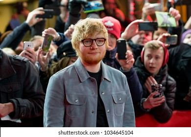Berlin, Germany - February 23, 2018: English singer Ed Sheeran on red carpet while attending the 'Songwriter' premiere during the 68th Berlinale International Film Festival Berlin 2018