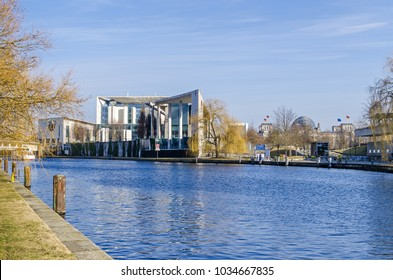 Berlin, Germany - February 23, 2018: City centre with the German Federal Chancellery, international trading center, Reichstag building and chancellery park. View from the Magnus-Hirschfeld Ufer.