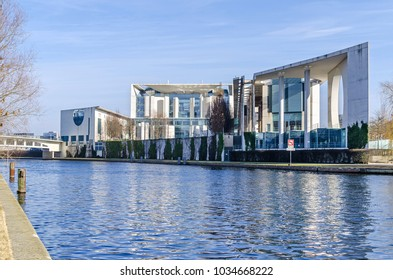 Berlin, Germany - February 23, 2018: The rear part of the German Federal Chancellery ( Bundeskanzleramt) with the planted wall and a chancellery park, view from the Magnus-Hirschfeld Ufer.