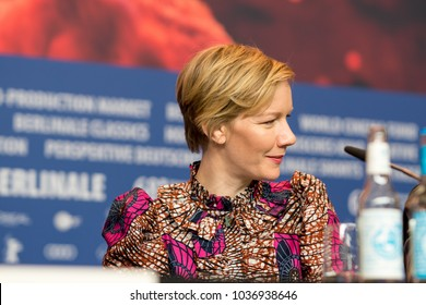 Berlin, Germany - February 23, 2018: German actress Sandra Hueller attends the film 'In the aisles' (In den Gaengen) press conference during the 68th Berlinale International Film Festival 2018