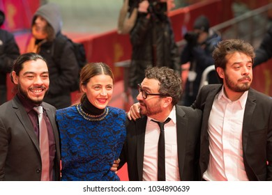 Berlin, Germany - February 24, 2018: Bernardo Velasco, Ilse Salas, Alonso Ruizpalacios and Leonardo Ortizgris attend the 'Museum' (Museo) premiere during the 68th Berlinale International Film Festival